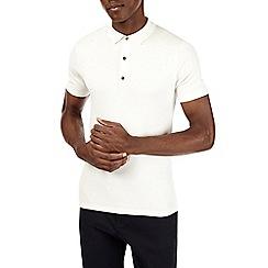 Burton - White short sleeved knitted polo shirt