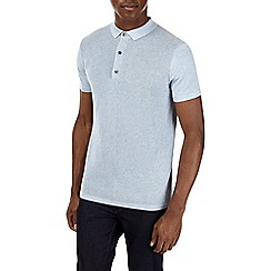 Burton - Ice blue short sleeve textured knitted polo shirt