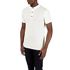 Burton - White short sleeve textured knitted polo shirt