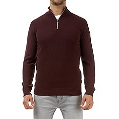 Burton - Burgundy half zip neck jumper