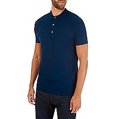 Burton - Dark blue short sleeve knitted polo shirt