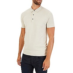 Burton - Ecru short sleeve knitted polo shirt