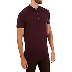 Burton - Purple short sleeve knitted polo shirt
