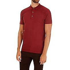Burton - Burnt red short sleeve knitted polo shirt