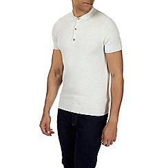 Burton - Light grey knitted textured polo shirt