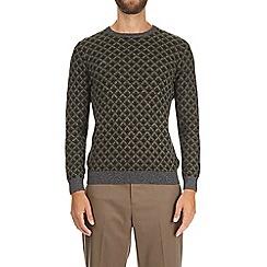Burton - Khaki patterned crew neck jumper