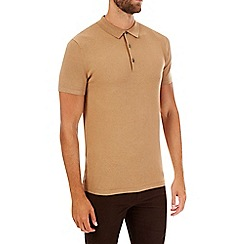 Burton - Camel short sleeve knitted polo shirt