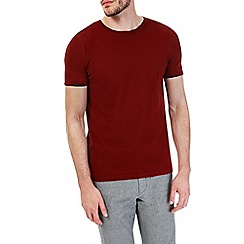 Burton - Burnt red short sleeve knitted t-shirt