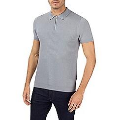 Burton - Grey half zip knitted polo shirt