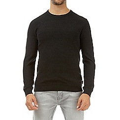 Burton - Black zig zag crew neck jumper