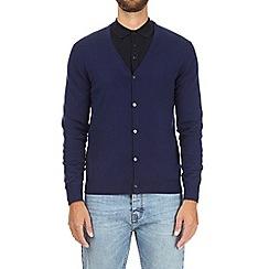 Burton - Navy V-neck merino wool cardigan