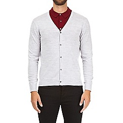 Burton - Silver V-neck merino wool cardigan
