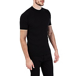Burton - Black ribbed short sleeve turtle neck jumper