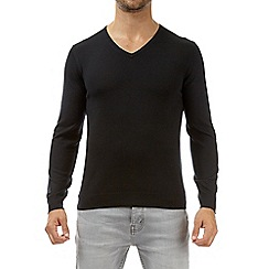 Burton - Black merino V-neck jumper