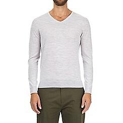 Burton - Grey merino V-neck jumper