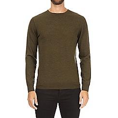 Burton - Khaki merino crew neck jumper
