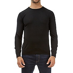 Burton - Black merino crew neck jumper