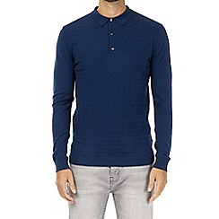 Burton - Navy patterned long sleeve knitted polo shirt