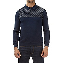 Burton - Navy patterned knitted polo shirt