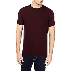 Burton - Burgundy honeycomb stitch knitted t-shirt
