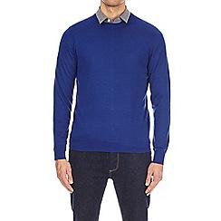 Burton - Blue merino crew neck jumper