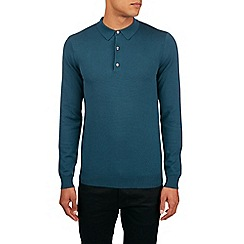 Burton - Teal long sleeve knitted polo shirt