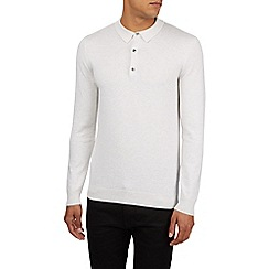 Burton - Ecru long sleeve knitted polo shirt