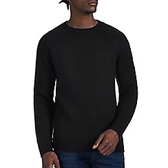 Burton - Black raglan textured crew neck jumper