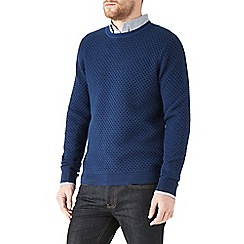 Burton - Blue honeycomb stitch jumper