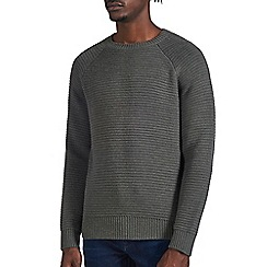 Burton - Grey raglan textured  crew neck jumper