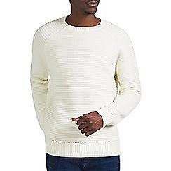 Burton - Ecru raglan textured crew neck jumper