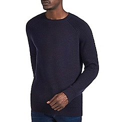 Burton - Navy raglan textured knitted jumper