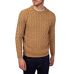 Burton - Traditional camel cable knit jumper