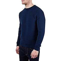 Burton - Blue bobble plaited crew neck jumper