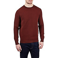 Burton - Rust bobble plaited crew neck jumper