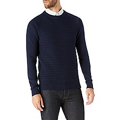 Burton - Navy textured crew neck jumper