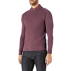 Burton - Pink textured crew neck jumper