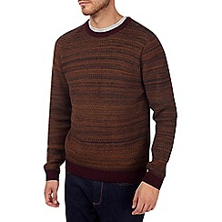 Burton - Mustard and burgundy textured knitted jumper