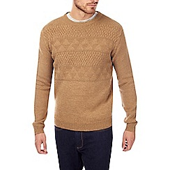 Burton - Camel yoke pattern knitted jumper