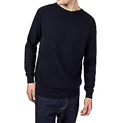 Burton - Navy textured raglan sleeve jumper