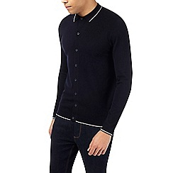 Burton - Navy button through knitted polo shirt