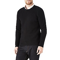 Burton - Black honeycomb stitch jumper