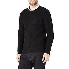 Burton - Black honeycomb stitch jumper