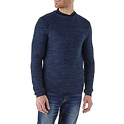 Burton - Blue textured crew neck jumper