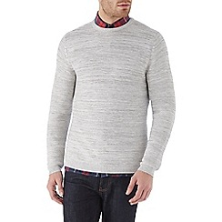 Burton - Light grey textured crew neck jumper