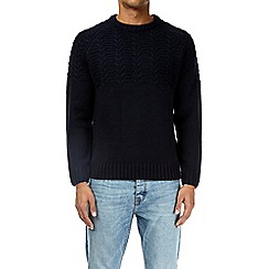 Burton - Navy cable knit jumper