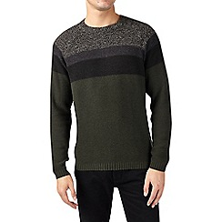 Burton - Khaki chunky panel crew neck jumper