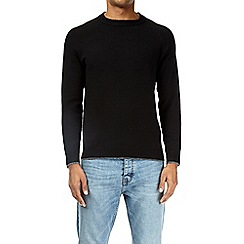 Burton - Black soft textured crew neck jumper