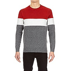 Burton - Red and grey three stripe crew neck jumper
