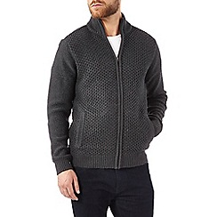 Burton - Dark green knitted zip through jumper